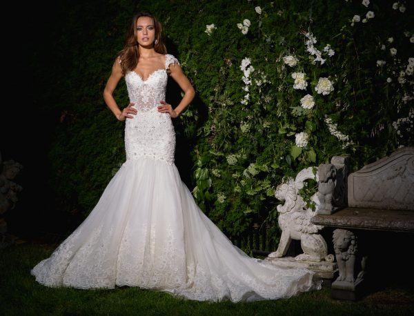 Sweetheart Neckline Cap Sleeve Beaded Bodice Wedding Dress by Eve of Milady - Image 1