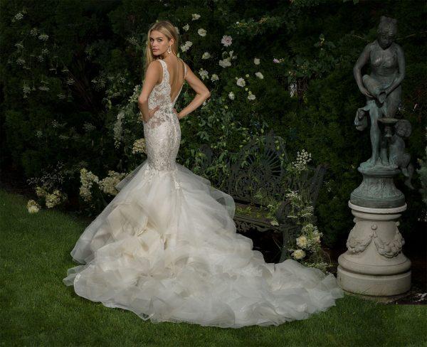 V-neck Beaded Bodice Sleeveless Fit And Flare Wedding Dress by Eve of Milady - Image 2