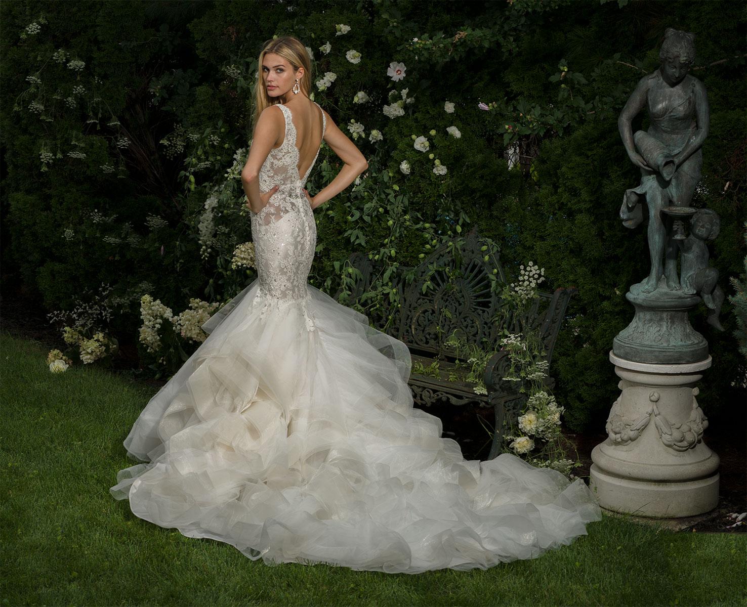 V-neck Beaded Bodice Sleeveless Fit And Flare Wedding Dress ...