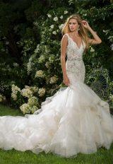 V-neck Beaded Bodice Sleeveless Fit And Flare Wedding Dress by Eve of Milady - Image 1