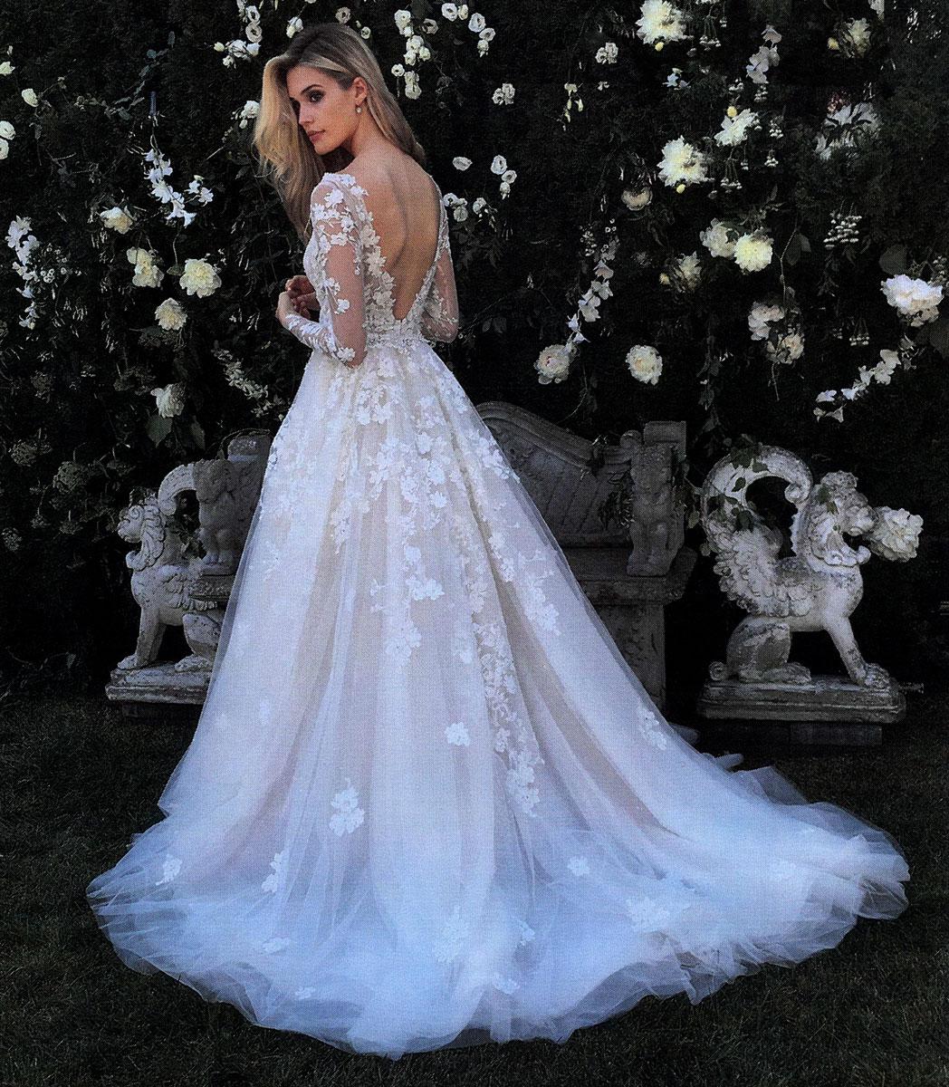 V-neck Long Sleeve Beaded Applique Wedding Dress | Kleinfeld Bridal