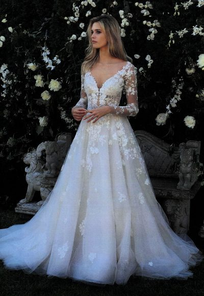 V-neck Long Sleeve Beaded Applique Wedding Dress by Eve of Milady