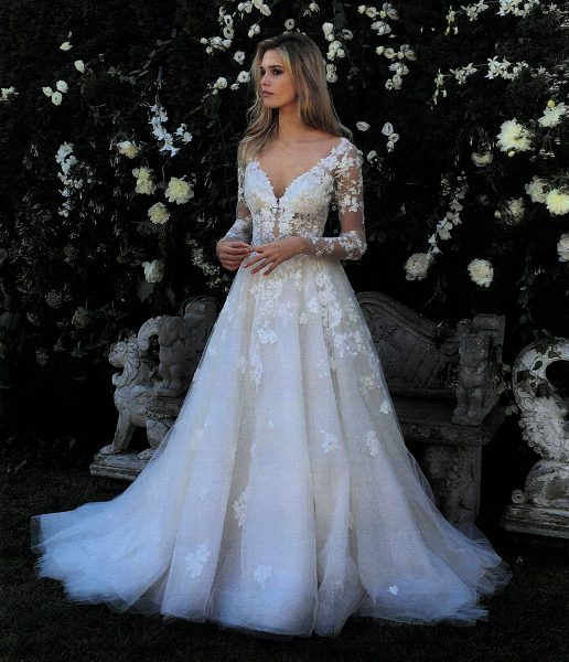 V-neck Long Sleeve Beaded Applique Wedding Dress by Eve of Milady - Image 1