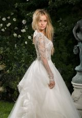 V-neck Long Sleeve Beaded Bodice A-line Wedding Dress by Eve of Milady - Image 2
