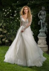 V-neck Long Sleeve Beaded Bodice A-line Wedding Dress by Eve of Milady - Image 1