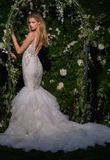 V-neck Sheer Beaded Bodice Fit And Flare Wedding Dress by Eve of Milady - Image 2