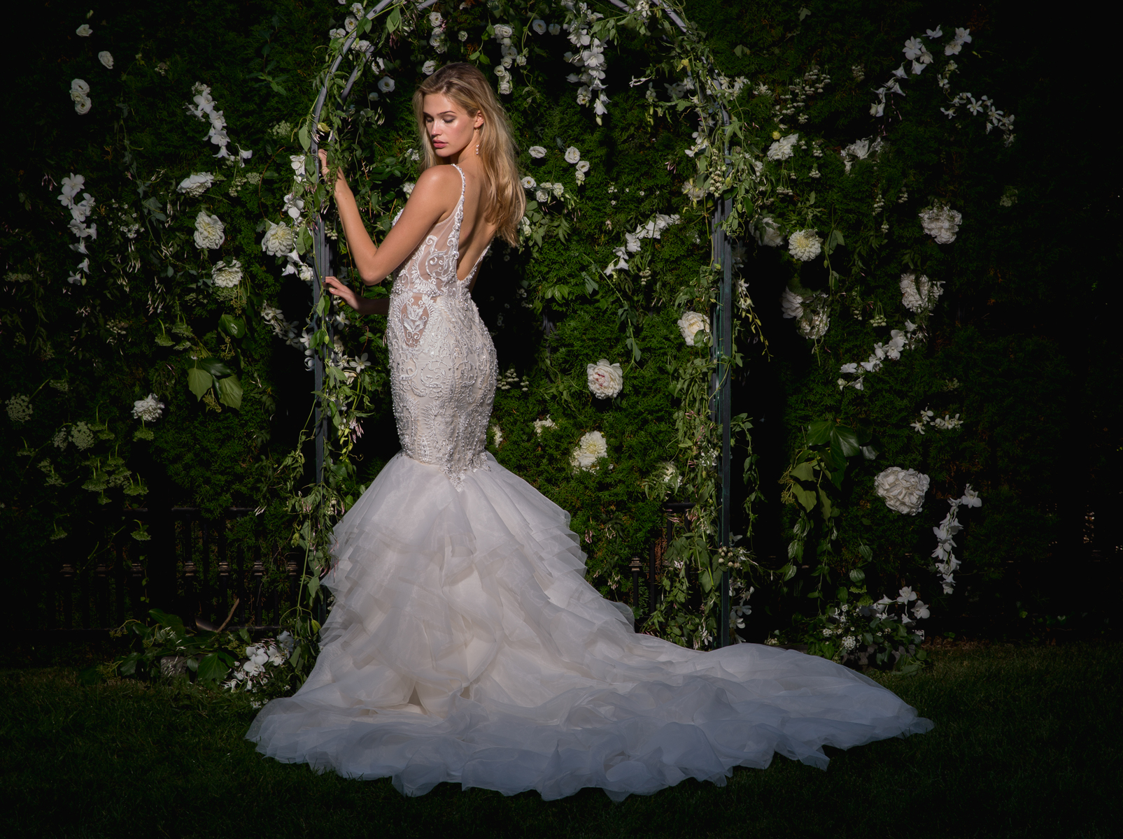 V-neck Sheer Beaded Bodice Fit And Flare Wedding Dress | Kleinfeld ...