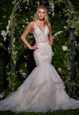 V-neck Sheer Beaded Bodice Fit And Flare Wedding Dress by Eve of Milady - Image 1