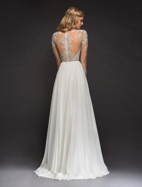 Long Sleeve Beaded Illusion Bodice A-line Wedding Dress by Hayley Paige - Image 2