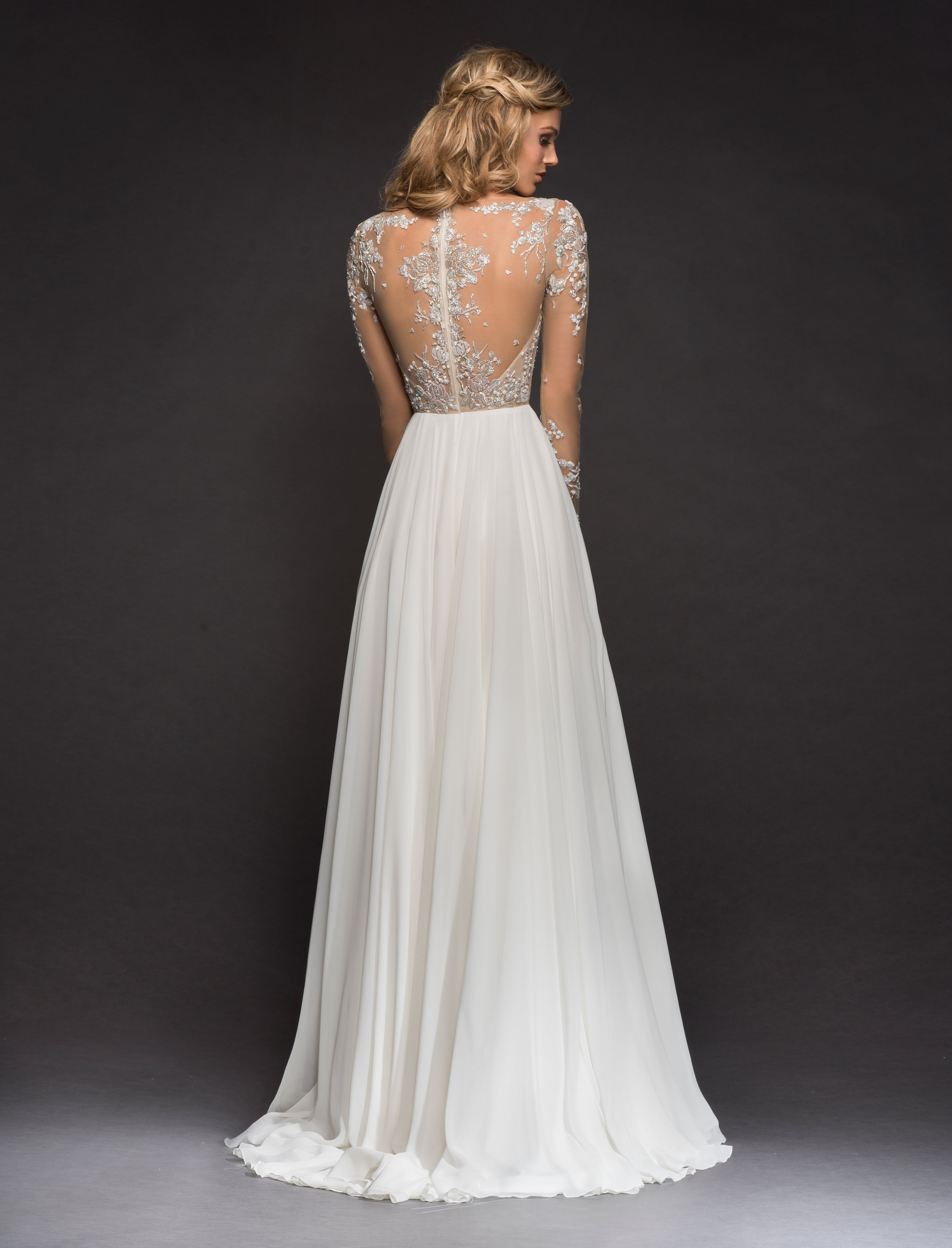 Long Sleeve Beaded Illusion Bodice A-line Wedding Dress | Kleinfeld ...