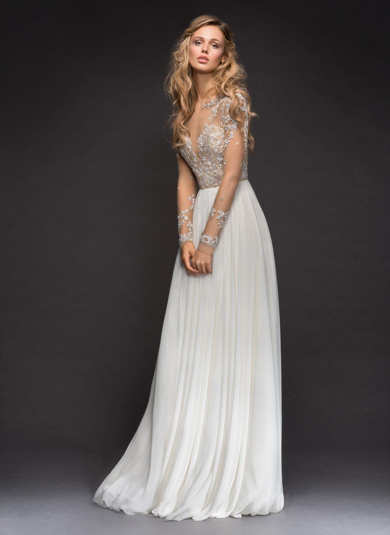 Long Sleeve Beaded Illusion Bodice A-line Wedding Dress