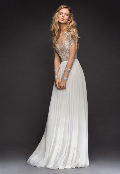 Long Sleeve Beaded Illusion Bodice A-line Wedding Dress by Hayley Paige
