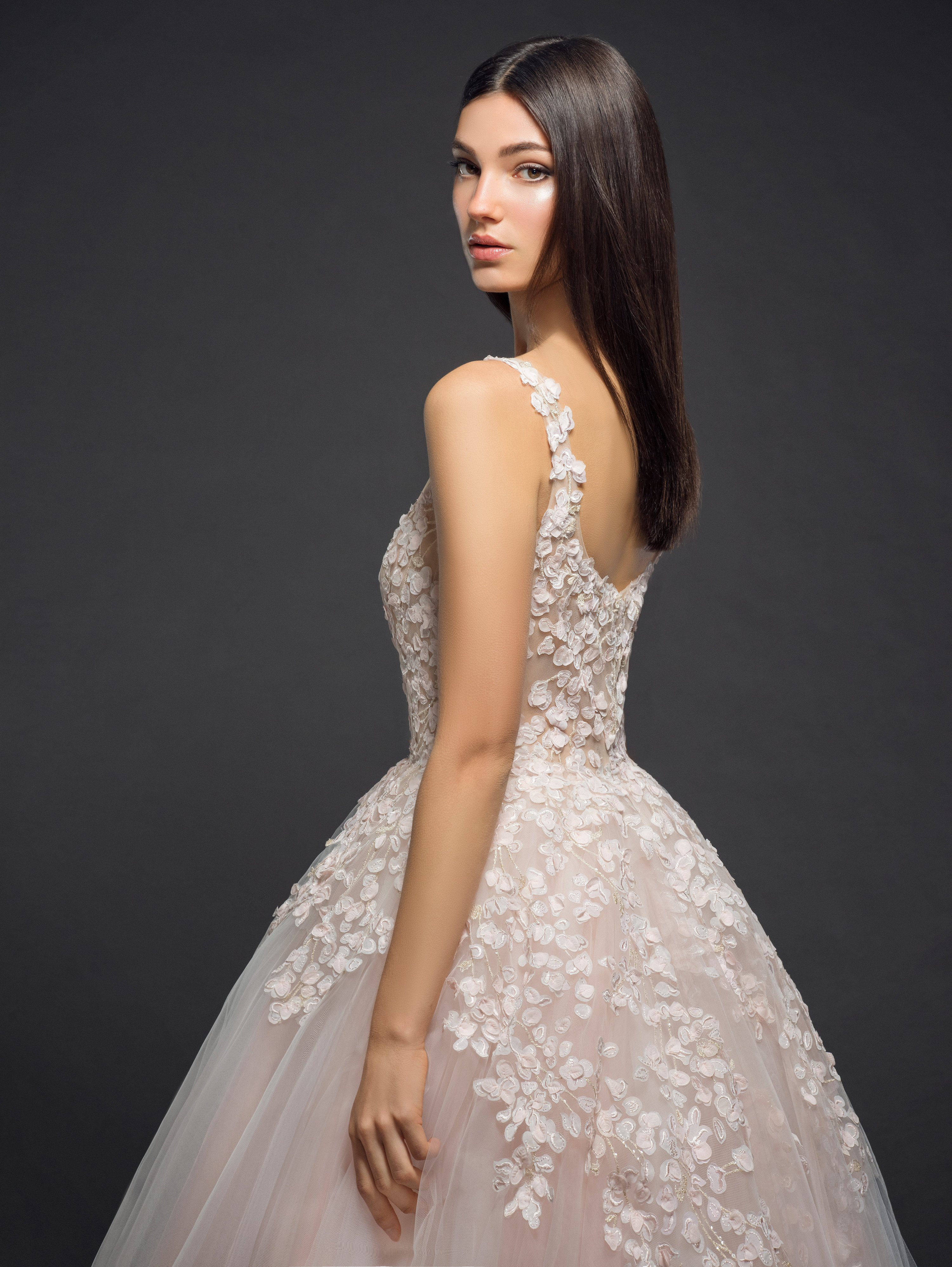 Floral Embroidery With An Illusion Neck And Tulle Skirt Ball Gown ...