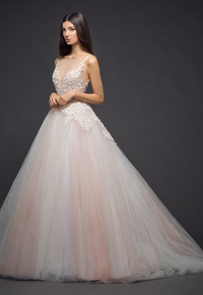 Floral Embroidery With An Illusion Neck And Tulle Skirt Ball Gown Wedding Dress by Lazaro
