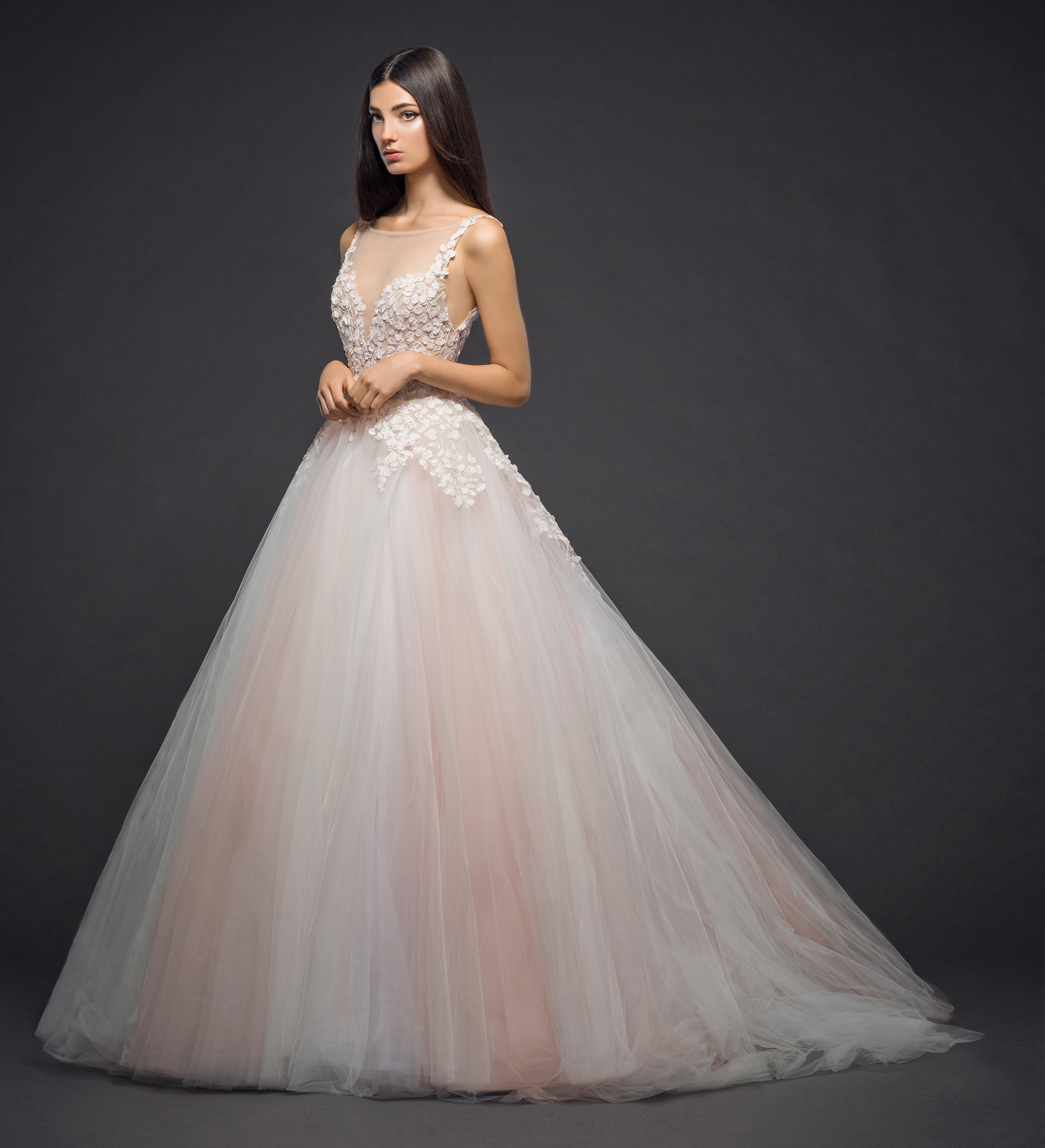 Tulle Wedding Ball Gowns: Floral Embroidery With An Illusion Neck And Tulle Skirt