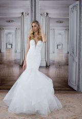 Deep V-neck Lace Bodice Tulle Skirt Mermaid Wedding Dress by Love by Pnina Tornai - Image 1