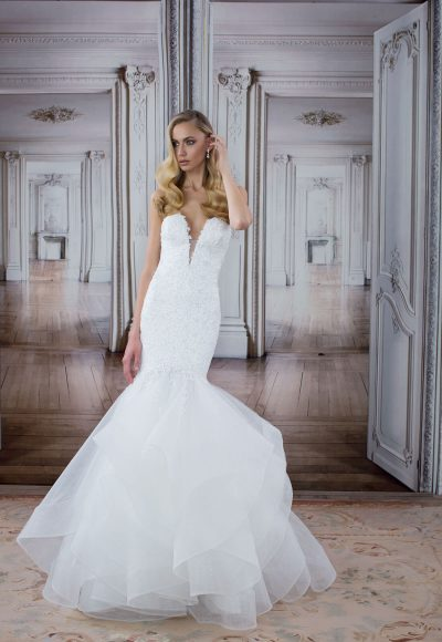 Deep V-neck Lace Bodice Tulle Skirt Mermaid Wedding Dress by Love by Pnina Tornai