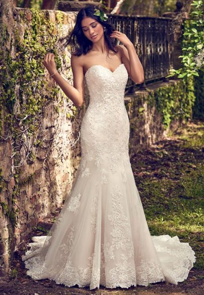 Embelllished Lace Sweetheart Neck Fit And Flare Wedding Dress by Maggie Sottero
