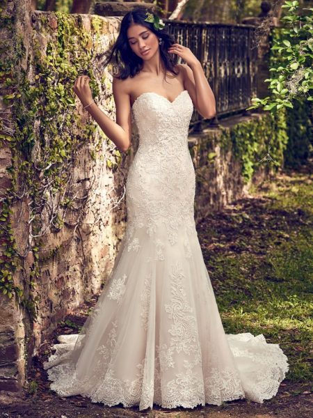 Embelllished Lace Sweetheart Neck Fit And Flare Wedding Dress by Maggie Sottero - Image 1