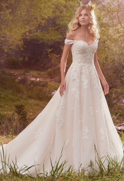 Off-the-Shoulder Sweetheart Neck Lace Detailed Ball Gown Wedding Dress by Maggie Sottero