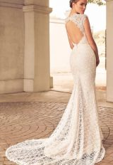 Lace Detailed Cap Sleeve Sweetheart Neck Fit And Flare Wedding Dress by Paloma Blanca - Image 2