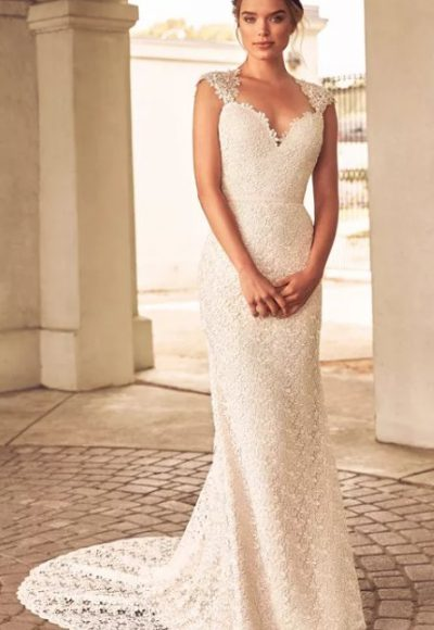 Lace Detailed Cap Sleeve Sweetheart Neck Fit And Flare Wedding Dress by Paloma Blanca