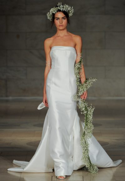 Strapless Simple Straight Neckline Mermaid Wedding Dress by Reem Acra