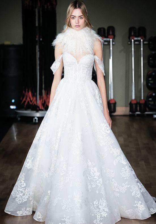 Sweetheart Neck Draped Sleeved Ball Gown Wedding Dress | Kleinfeld ...