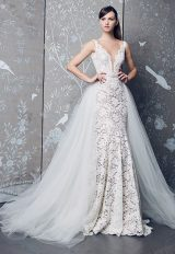 Sleeveless V-neck Fully Lace Mermaid Wedding Dress by LEGENDS Romona Keveza - Image 1