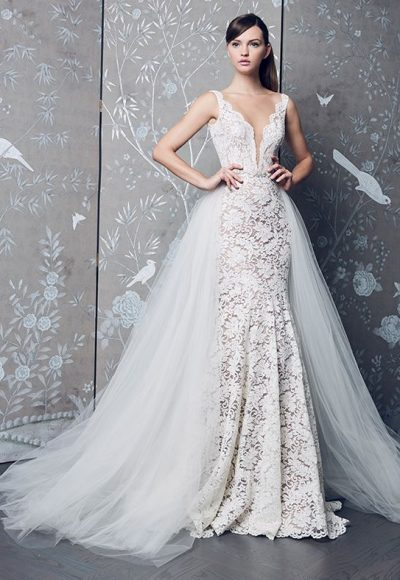 Sleeveless V-neck Fully Lace With Detachable Skirt Mermaid Wedding Dress by Romona Keveza