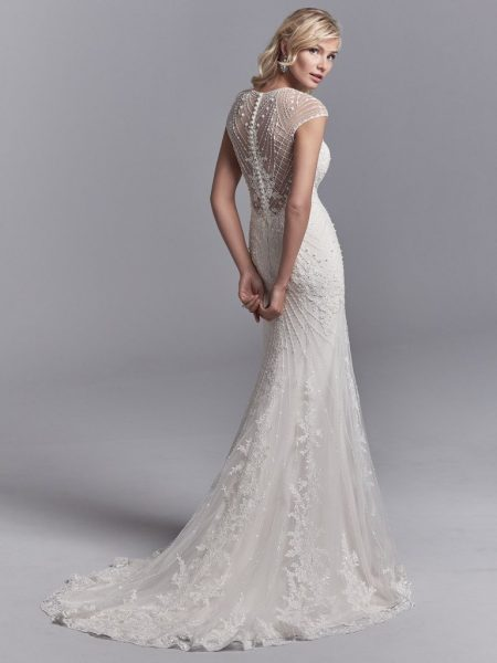 Illusion Cap Sleeve Beaded And Embroidered Fit And Flare Wedding Dress With Tulle Overlay by Sottero and Midgley - Image 2