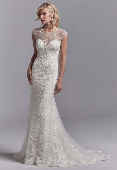 Illusion Cap Sleeve Beaded And Embroidered Fit And Flare Wedding Dress With Tulle Overlay by Sottero and Midgley