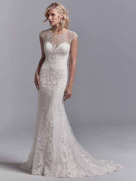 Illusion Cap Sleeve Beaded And Embroidered Fit And Flare Wedding