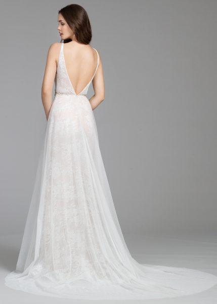 V-neck A-line Chantilly Lace Wedding Dress by Tara Keely - Image 2