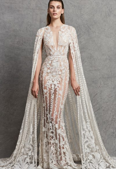 Lace Applique Illusion V-neck Wedding Dress by Zuhair Murad