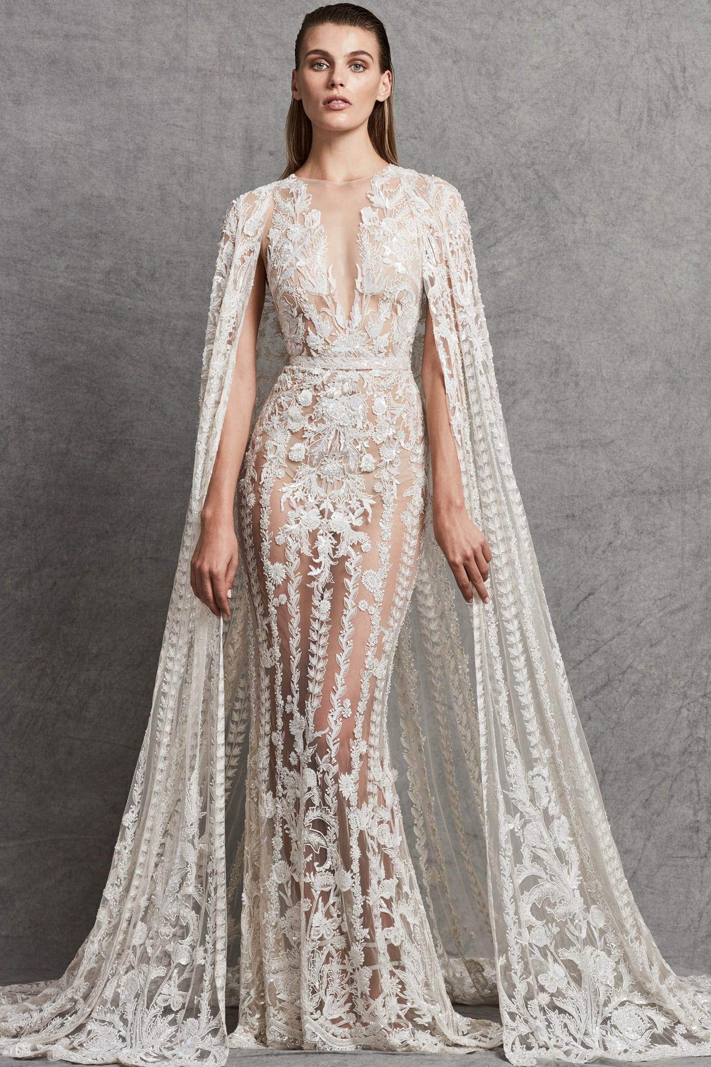 Lace applique illusion v neck wedding dress kleinfeld bridal junglespirit Image collections
