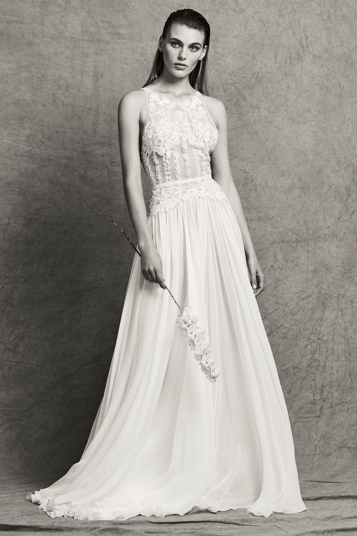 Sleeveless Illusion Beaded and Embroidered A-Line Wedding Dress ...