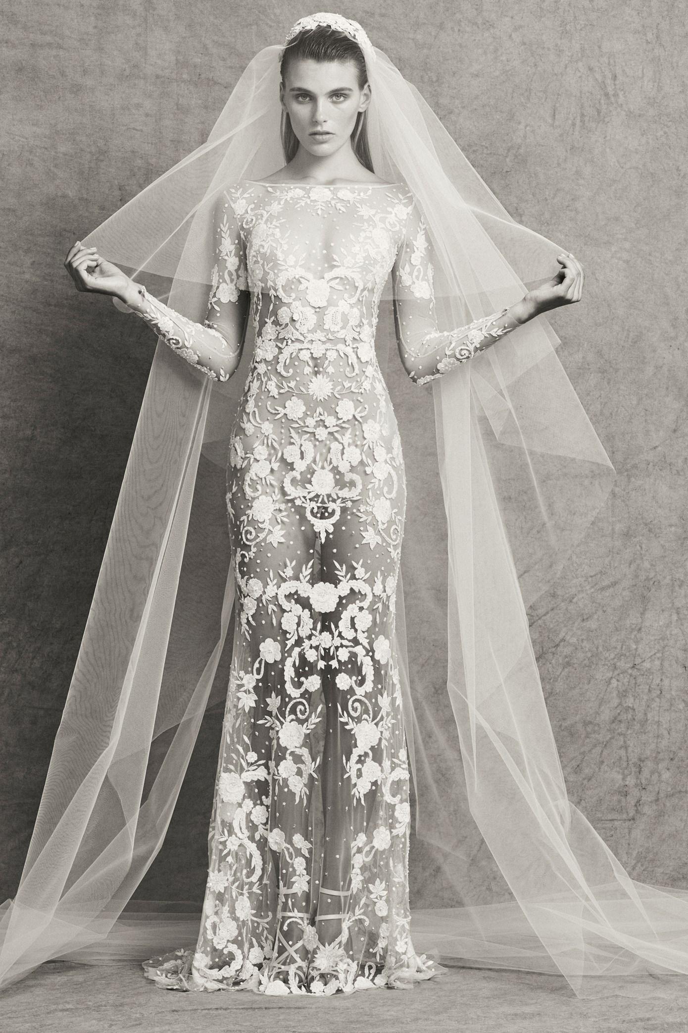 Zuhair Murad Wedding Dress.Sexy Illusion Lace Applique Sheath Wedding Dress