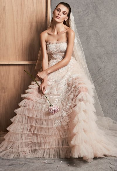 Strapless Ruffle Tiered A-line Wedding Dress by Zuhair Murad