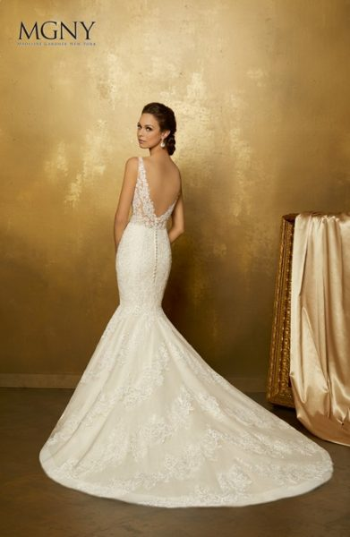 Lace Applique V-neck Tulle Mermaid Wedding Dress by Mori Lee - Image 3