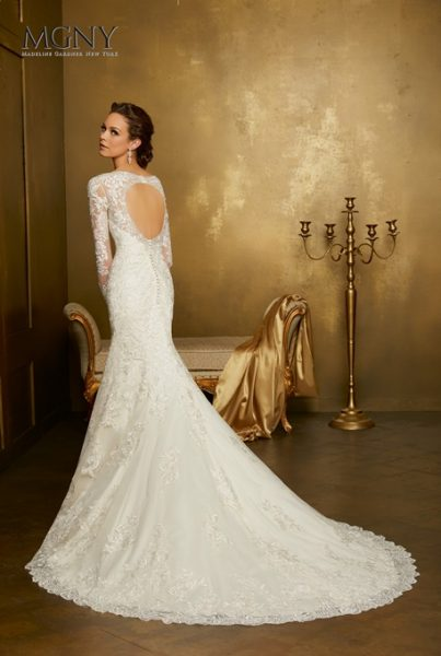 Long Sleeve Lace V-neck Fit And Flare Wedding Dress by Mori Lee - Image 3