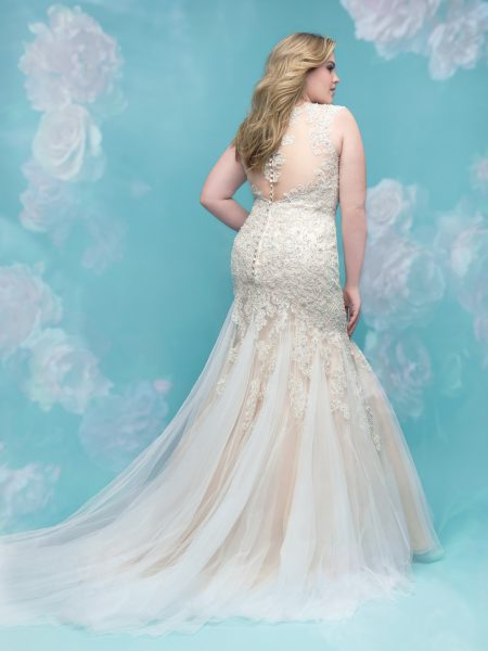 Beaded Lace Fit And Flare Sleeveless Wedding Dress by Allure Bridals - Image 2