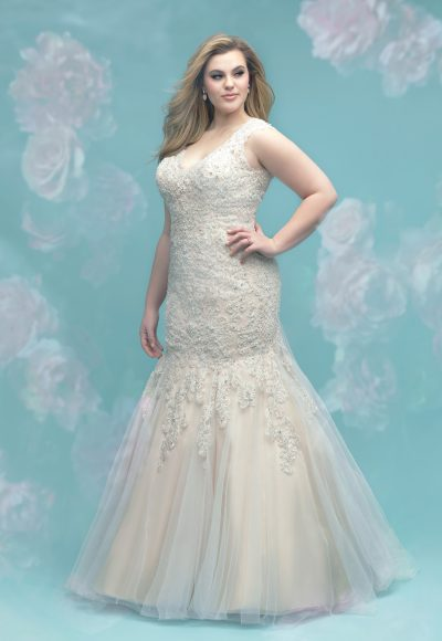 Beaded Lace Fit And Flare Sleeveless Wedding Dress by Allure Bridals