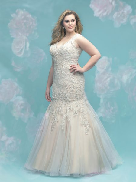 Beaded Lace Fit And Flare Sleeveless Wedding Dress by Allure Bridals - Image 1