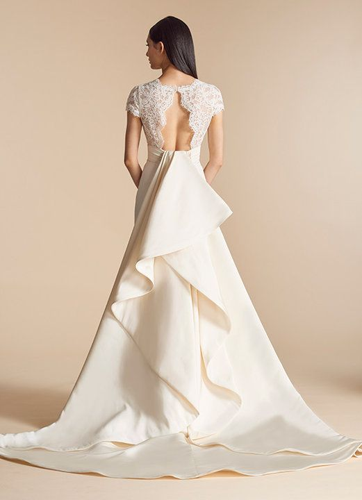 Fit And Flare Wedding Dress With Lace Bodice And V