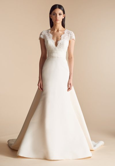 Fit And Flare Wedding Dress With Lace Bodice And V-neckline by Allison Webb