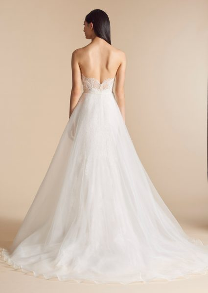 Sweetheart Neck Lace Bodice Tulle Overskirt Fit And Flare Wedding Dress by Allison Webb - Image 2