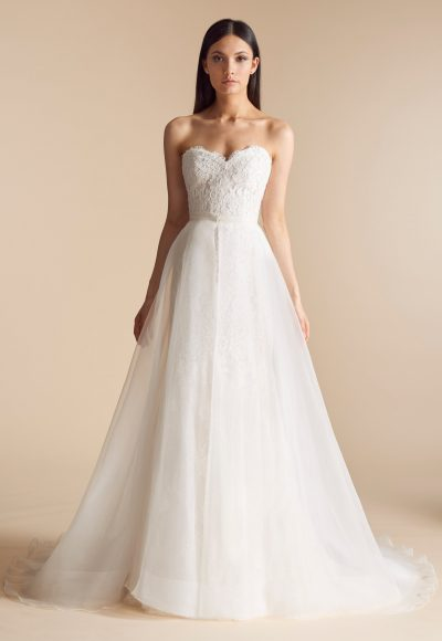 Sweetheart Neck Lace Bodice Tulle Overskirt Fit And Flare Wedding Dress by Allison Webb