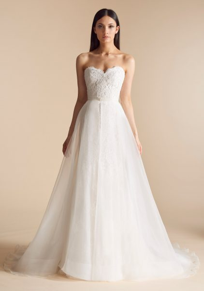 Sweetheart Neck Lace Bodice Tulle Overskirt Fit And Flare Wedding ...