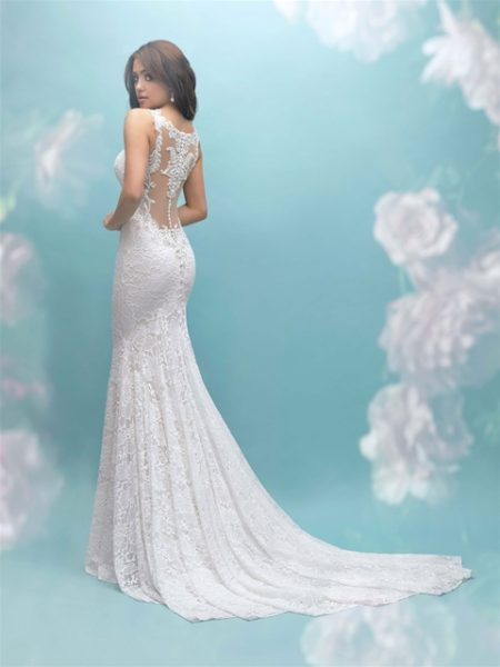 Beaded Lace Illusion Back Sheath Wedding Dress by Allure Bridals - Image 2